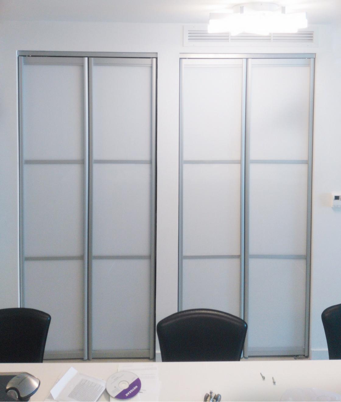 Custom Bifold Closet Doors Snow White Glass Panels And Aluminum