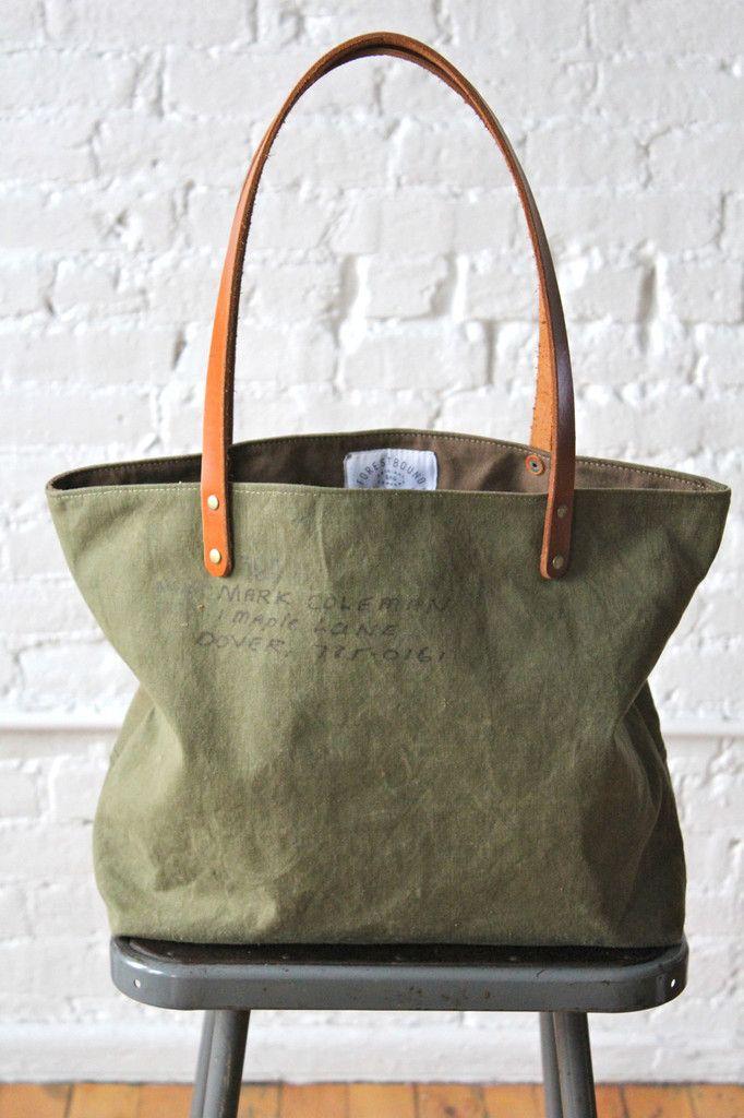 WWII era Two Tone US Military Canvas Tote Bag