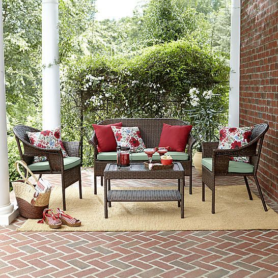 Jaclyn Smith Reece 4pc Wicker Seating Brown Outdoor Living