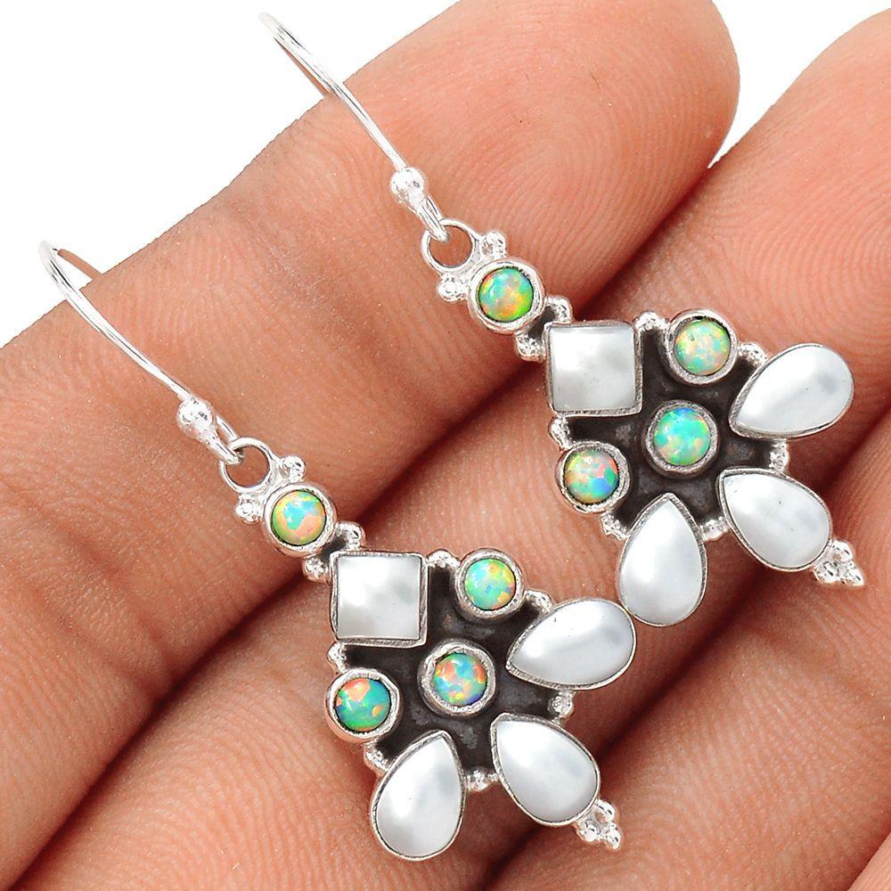Pearl & Fire Opal 925 Sterling Silver Earrings Jewelry SE111127 | eBay