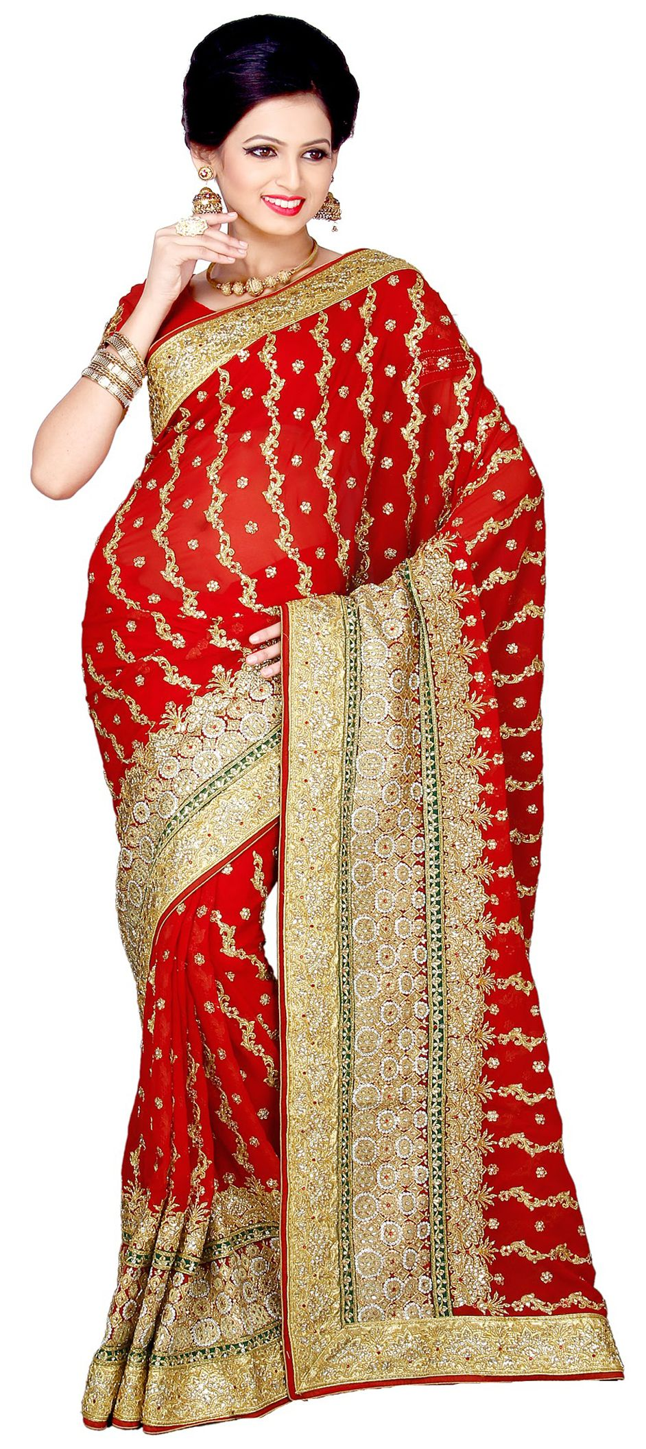 155949: Red and Maroon color family Saree with matching unstitched ...