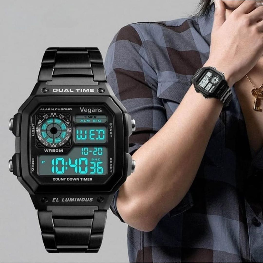 Vegans Dijital Celik Kordon Su Gecirmez Casio Retro Model Erkek Kol Saati 140 Tl Ucretsiz Kargo Si Mens Digital Watches Digital Wrist Watch Watches For Men