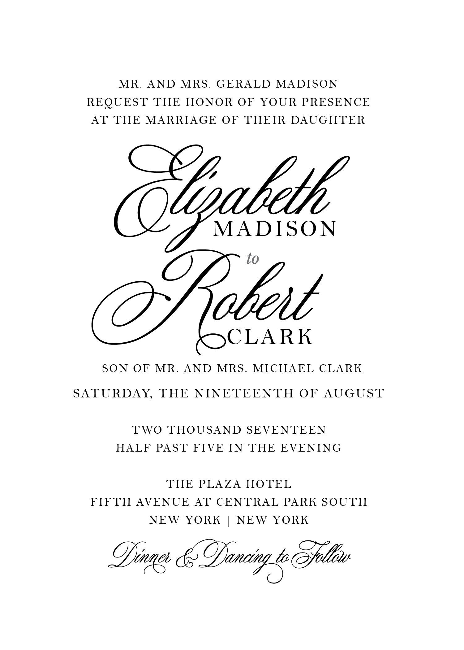 black tie wedding, formal wedding invitation, elegant wedding ...