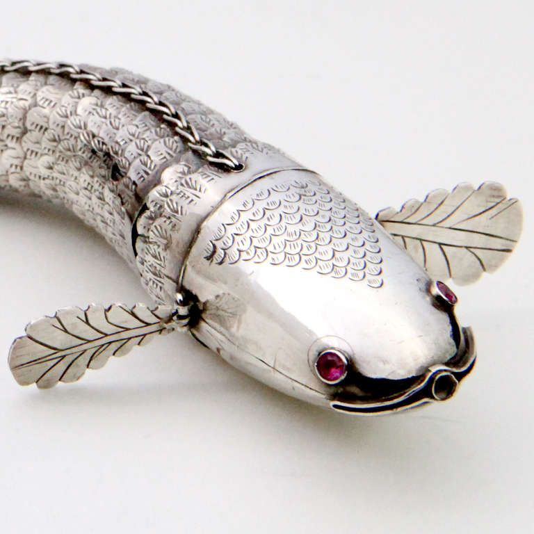 Articulated Silver Fish   From a unique collection of antique and modern animal sculptures at https://www.1stdibs.com/furniture/more-furniture-collectibles/animal-sculptures/