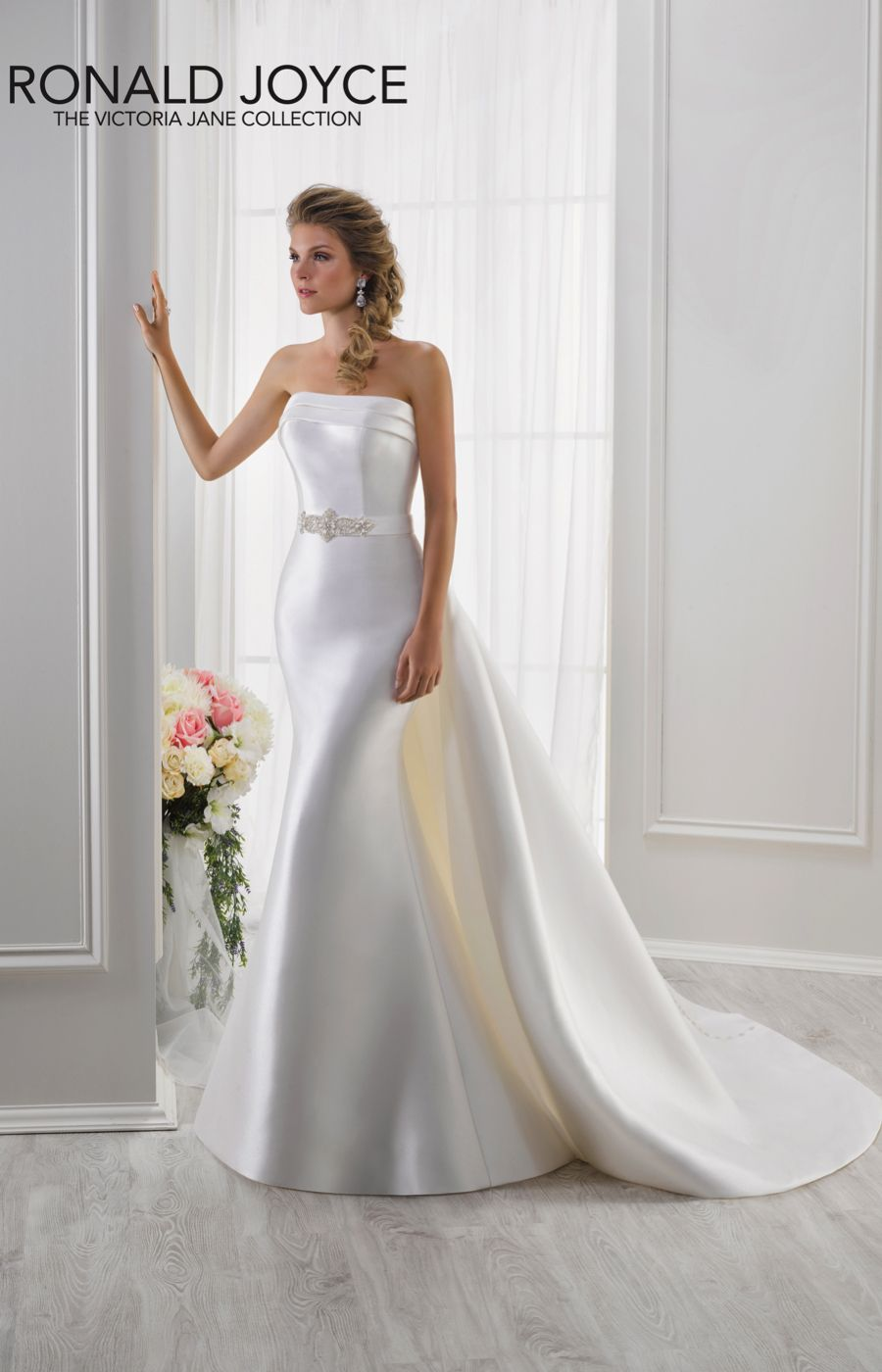 Lisa Style 18111 Victoria Jane By Ronald Joyce A Strapless Mikado Gown With Beaded Detail And Detachable Train Wedding Dress