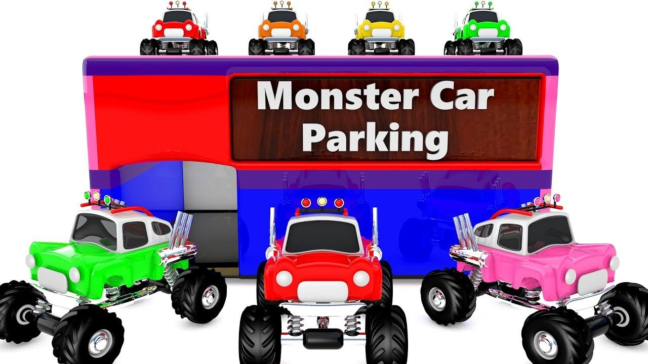Learn Colors for Children with Monster Car Toys Parking D Kids