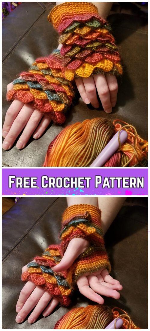 Crochet Dragon Scale Gloves Free Pattern   Handwarmers   Pinterest ...