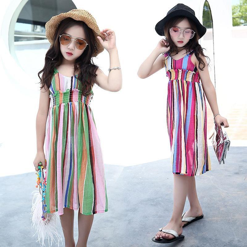 Kids Dresses For Girls Beach Dress Summer Holiday Princess Children Dress