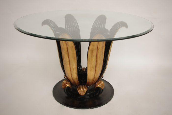 Large black and gilt lacquer pedestal table or gueridon from 1950 with round glass top - Jean-Luc Ferrand antiquités - Gueridon for an entrance