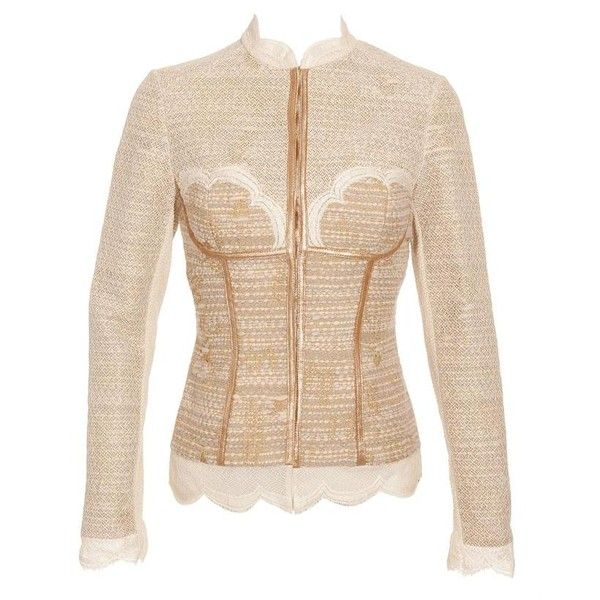 WORTH Bouclé tweed wool jacket with corset ($1,000) ❤ liked on Polyvore