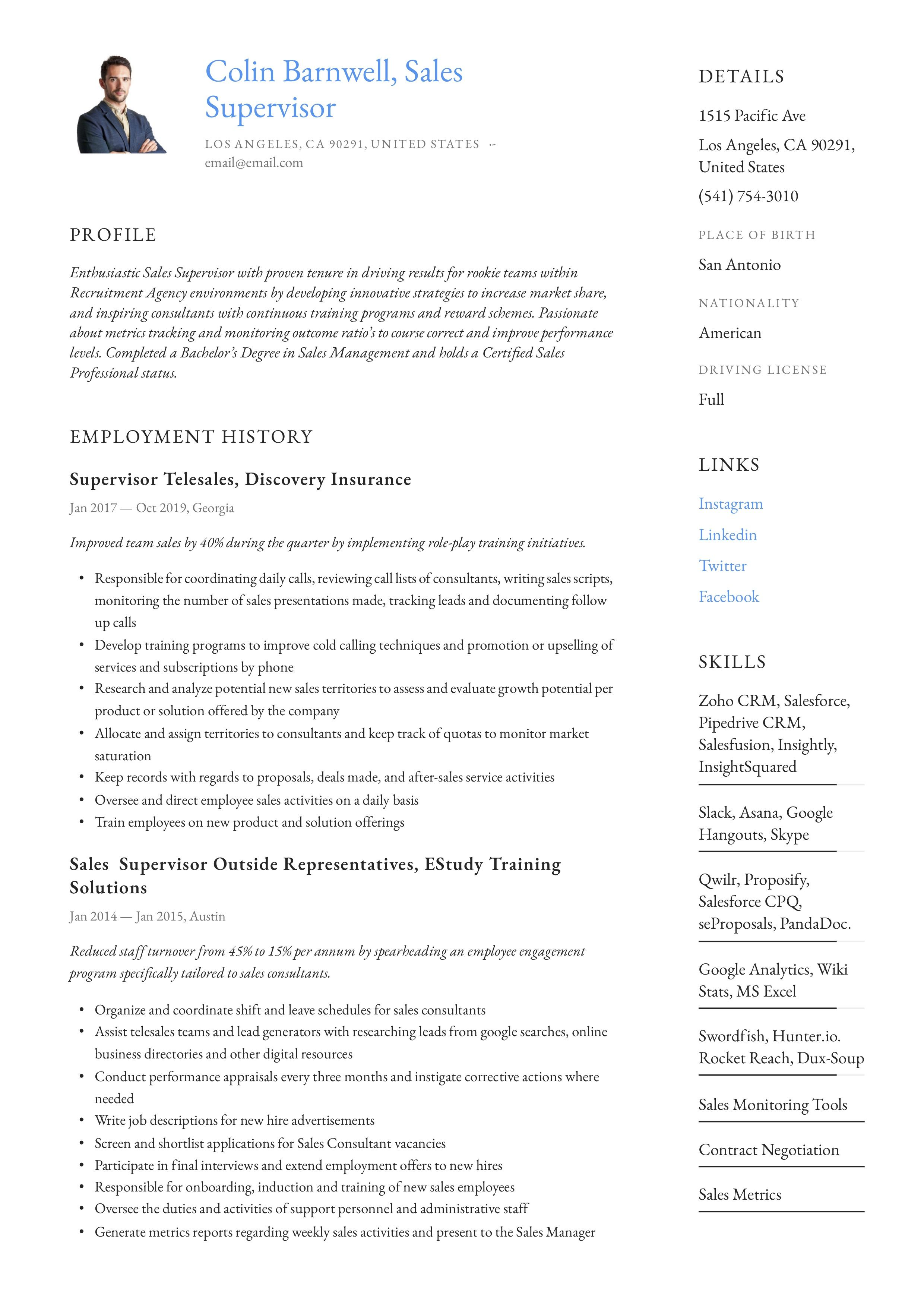 Sales Supervisor Resume Example Retail Resume Examples Retail Resume Guided Writing