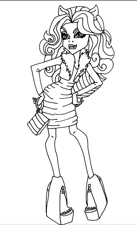 Monster High Scaris Clawdeen Coloring Pages clawdeen wolf monster high ...