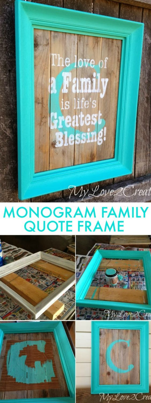 DIY Monogram Frame With Family Quote | Cuadros de tela, Adhesivos ...