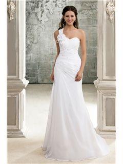 5d0e706910 Elegante Vestido de Novia con Pliegues Encaje Silueta Línea A y Correa de  un solo Hombro  (WD0210)