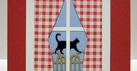 bm plush curtain die cut   Classy Cards 'n Such: Windows with Red Gingham Curtains