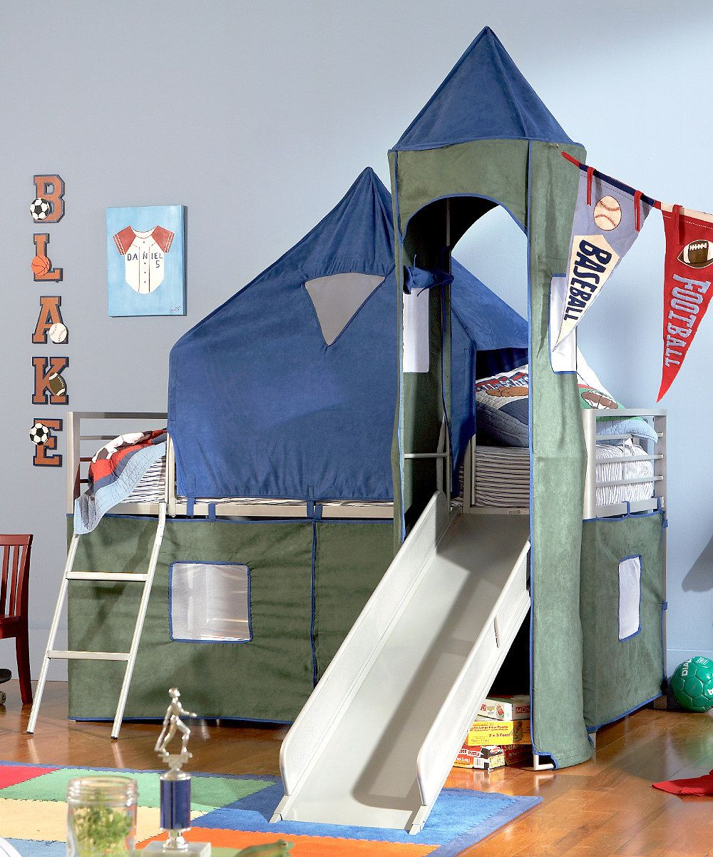 Loft bed with slide and tent  Blue u Green Twin Tent Bed u Slide Based in California Powell