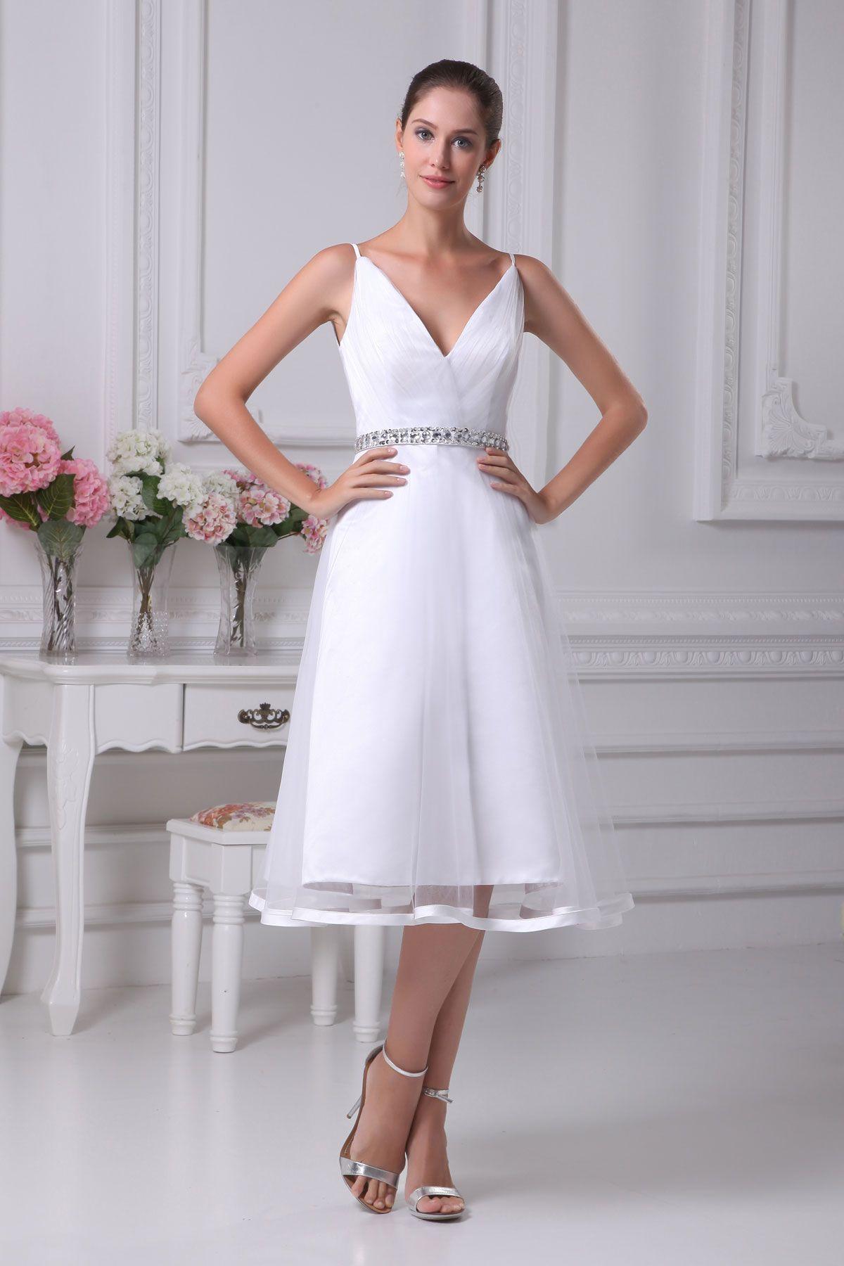 Long wedding reception dresses for the bride  Princess White Organza TeaLength Vneck Wedding Dress  Wedding