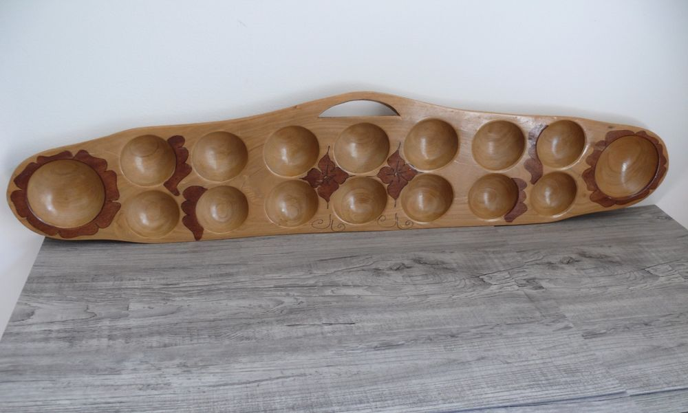 Vintage Mancala Game Wooden Board Hand Crafted Wood Drawn Hibiscus Flower Design 32 99 Handcrafted Wood Handcraft Flower Designs