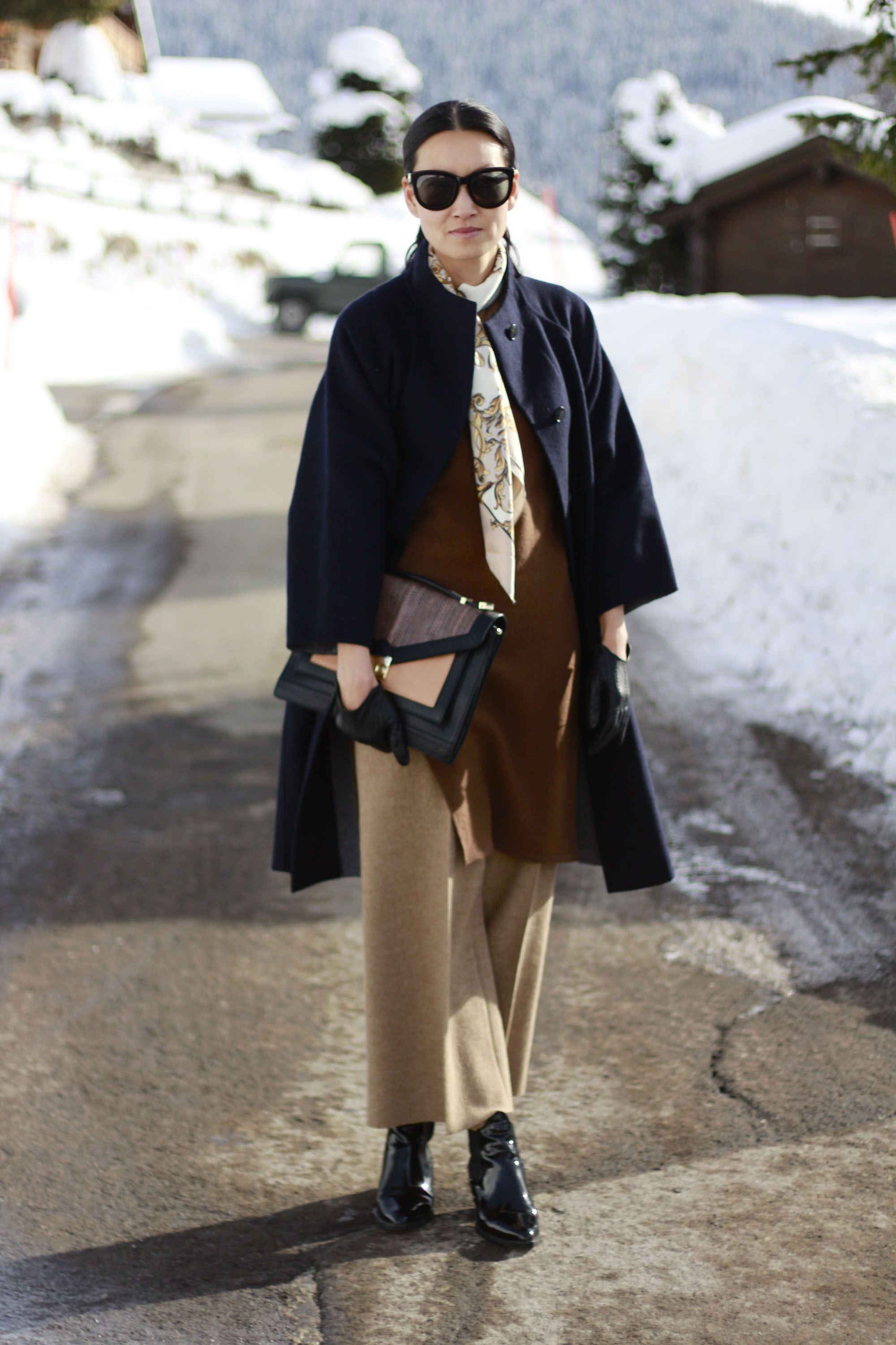 Women's Navy Coat, Brown Oversized Sweater, Tan Wide Leg Pants ...