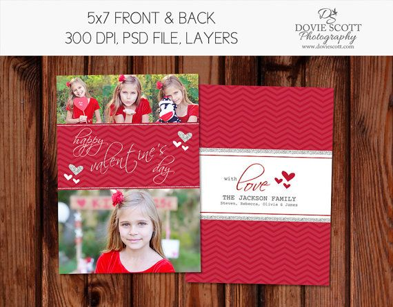 Valentine Photo Card Template 5x7 Flat Card By Doviescottphoto 5 99 Valentine Photo Cards Photo Card Template Photo Cards