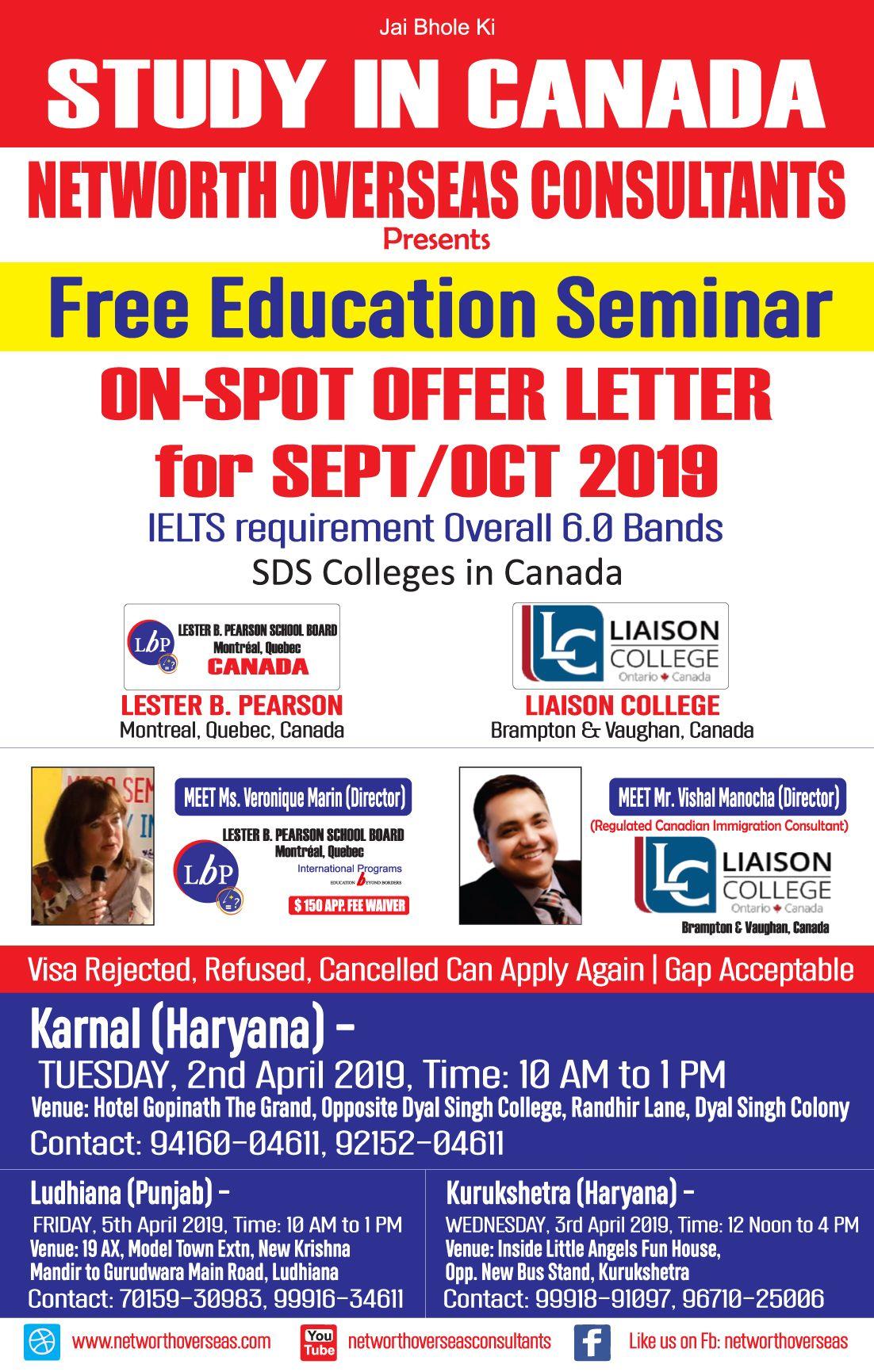 Free Education Seminar On Spot Offer Letter Canada Study Visa