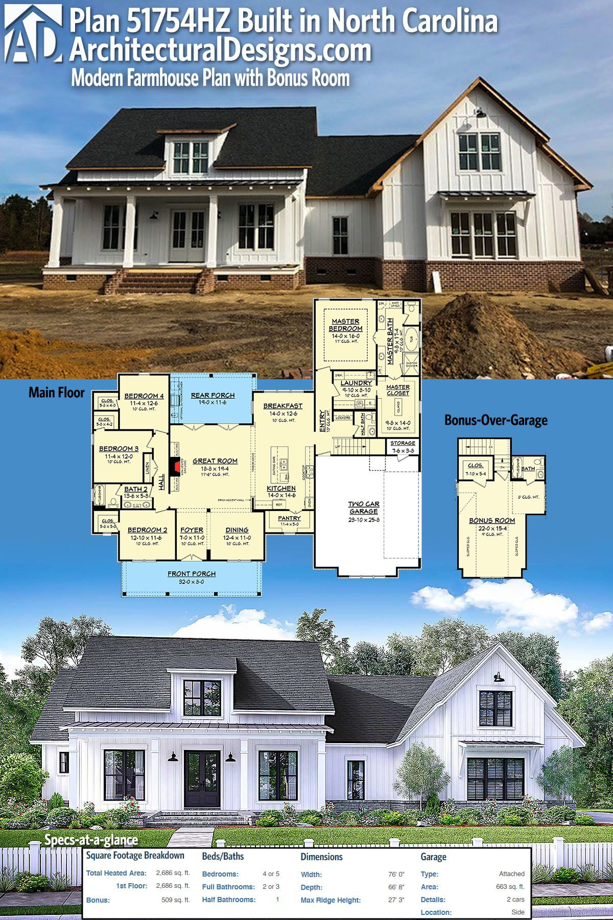 Our Client Built Architectural Designs Modern Farmhouse Plan 51754hz In North Carolina With Brick Accen Modern Farmhouse Plans Farmhouse Plans Modern Farmhouse