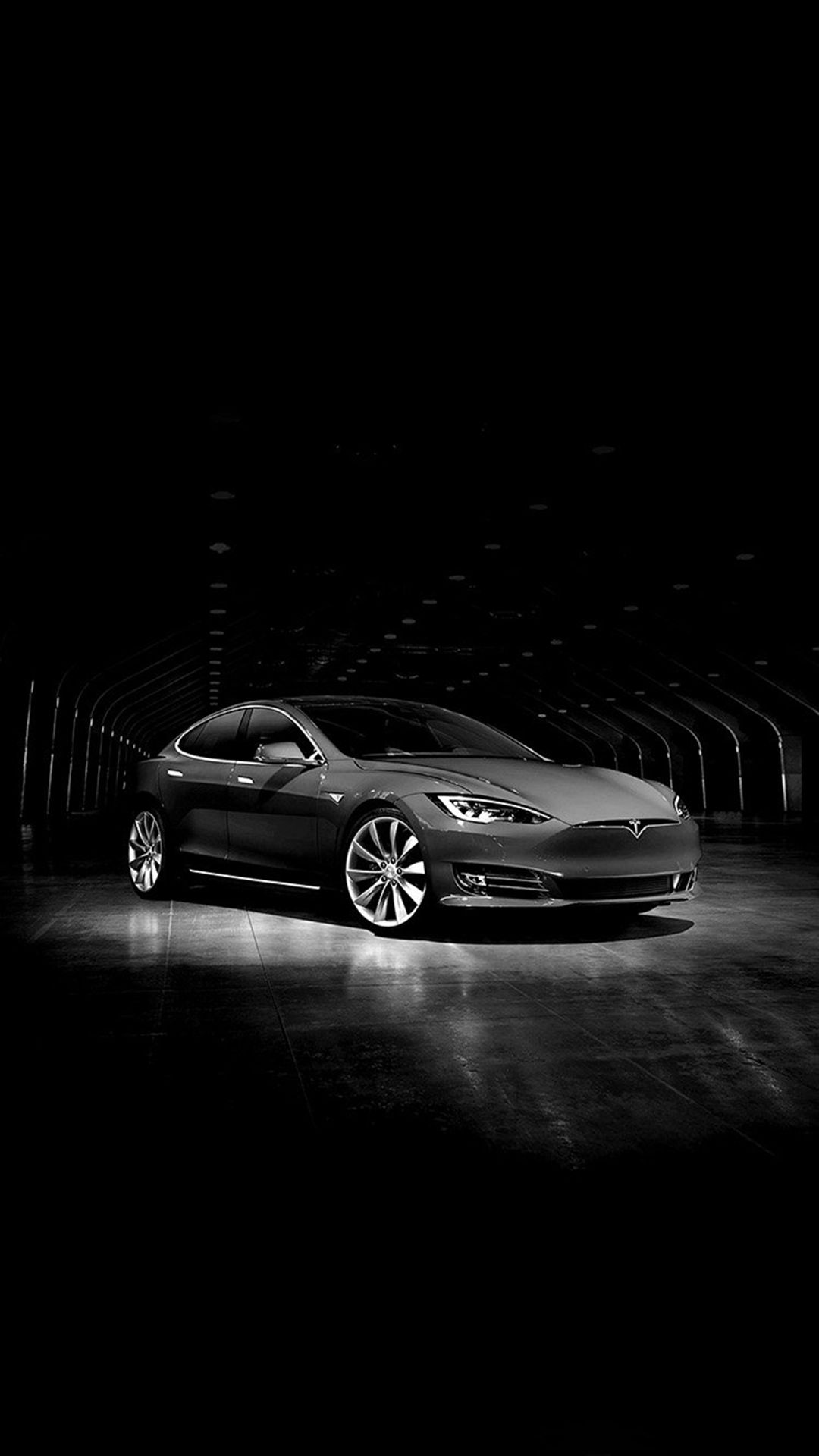 Tesla Model Concept Dark Bw Car iPhone 8 Wallpapers Car
