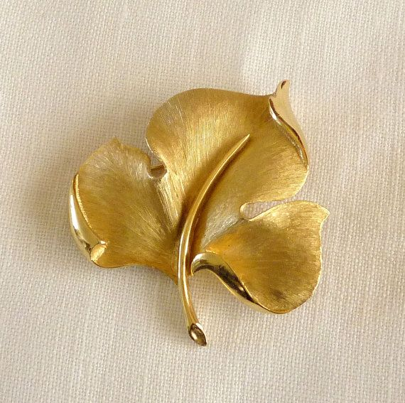 Vintage Crown Trifari Leaf Brooch by MaisonChantalMichael on Etsy, $20.00
