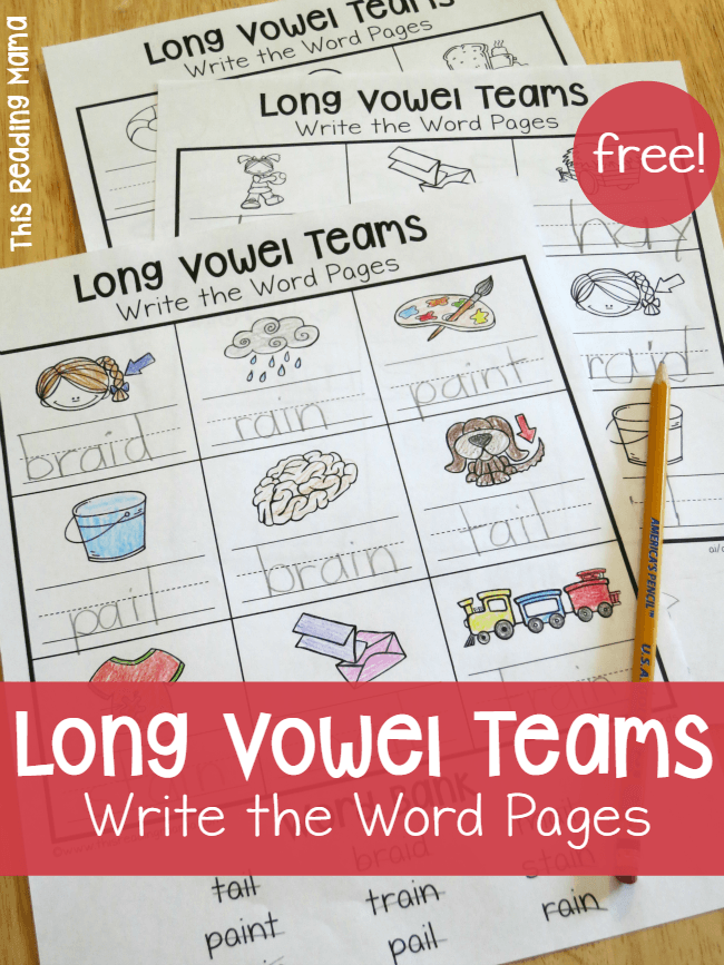 Long Vowel Teams Worksheets: Write the Word Pages | Kind