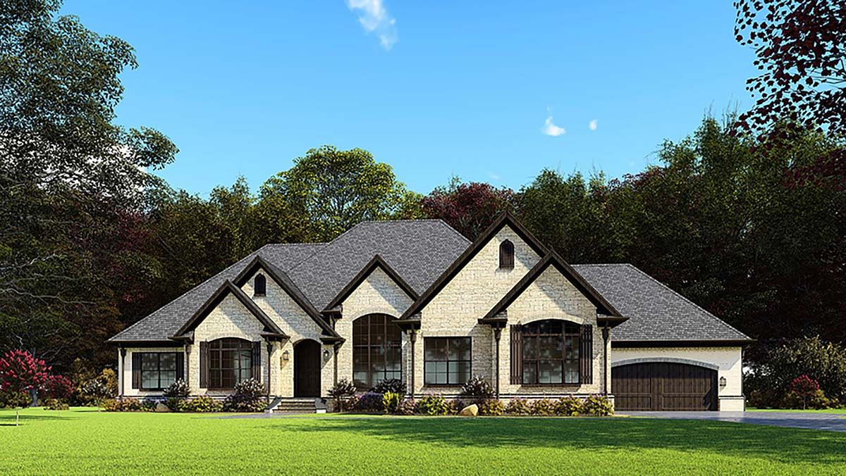 One Story Style House Plan 82563 With 3 Bed 3 Bath 4 Car Garage In 2020 Craftsman House Plans French Country House Plans Luxury House Plans