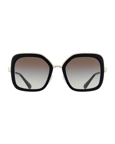 dc4d8df39e D3586 Prada Rimmed Square Metal Sunglasses