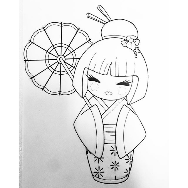 kokeshi dolls coloring pages - afbeeldingsresultaat voor kokeshi drawing tatuaggi