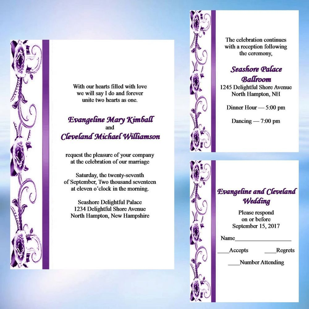 50 Personalized Dark Purple Rose Ribbon Damask Wedding Invitation ...