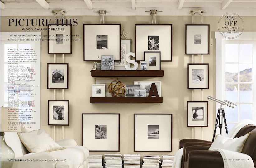 Check out how those pictures are hung - Pottery Barn Catalogue