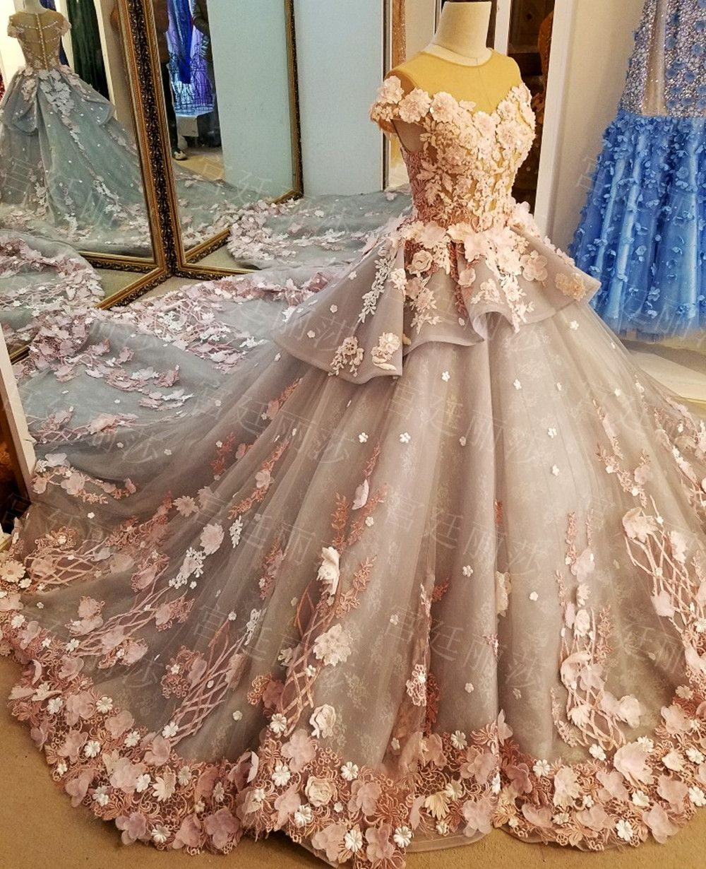 Luxurious Colorful Flowers Pearls Crystals Beaded Ball Gowns