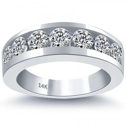 2 10 Carat Natural Diamond Mens Wedding Band Ring 14k White Gold Men Ring Expensive Wedding Rings Mens Diamond Wedding Bands Mens Wedding Rings