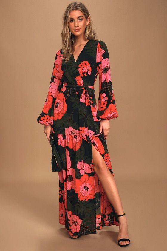 Dreaming On Black Multi Floral Print Balloon Sleeve Maxi Dress 2020 Kiyafet