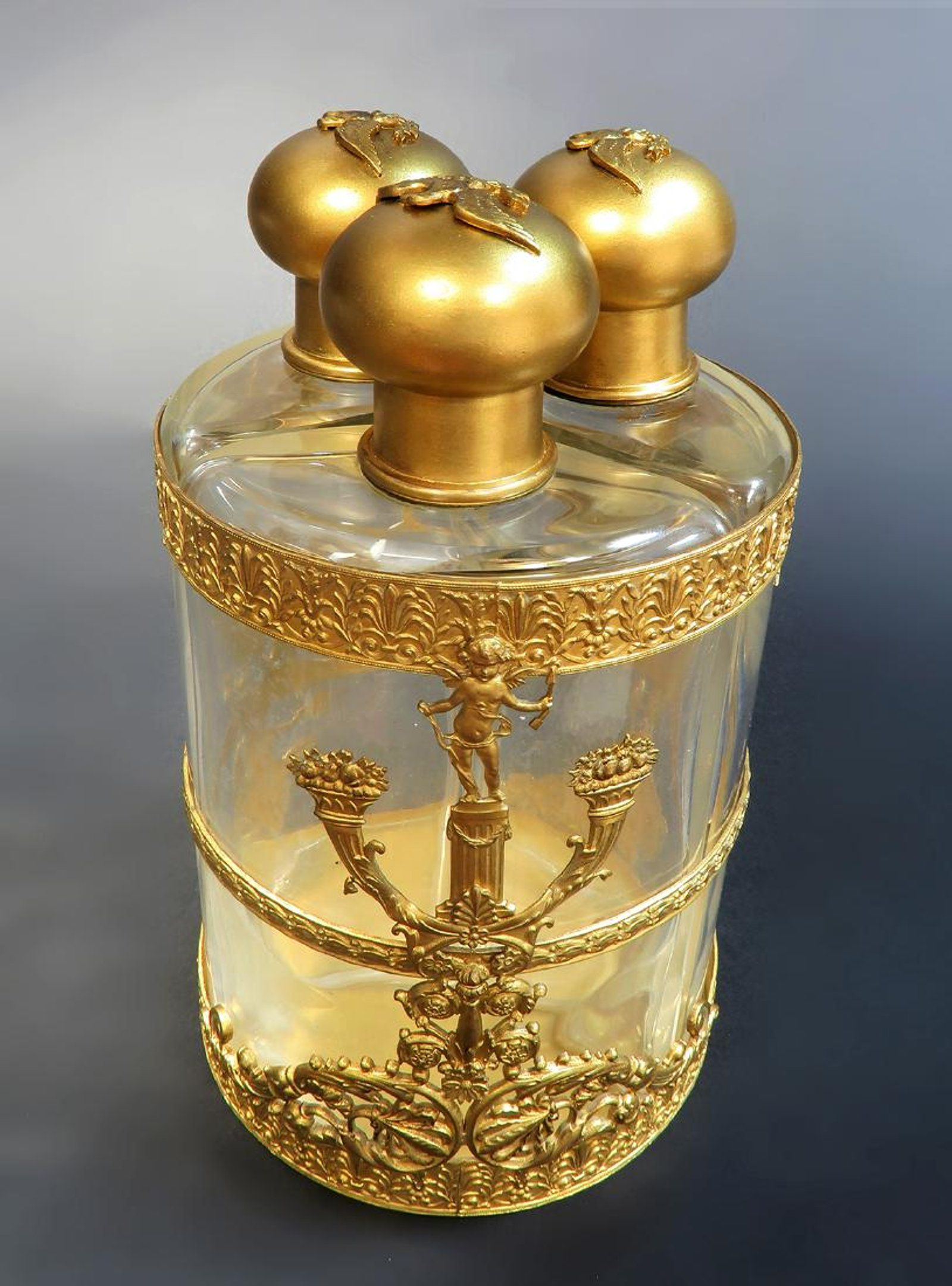 19th C French Bronze & Baccarat Crystal Perfume Bottles