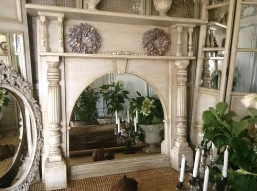 Vintage French Fireplace Mirror.