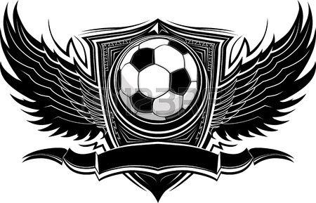 Balón de fútbol con el ala adornado Vector Graphic Fronteras Vectores