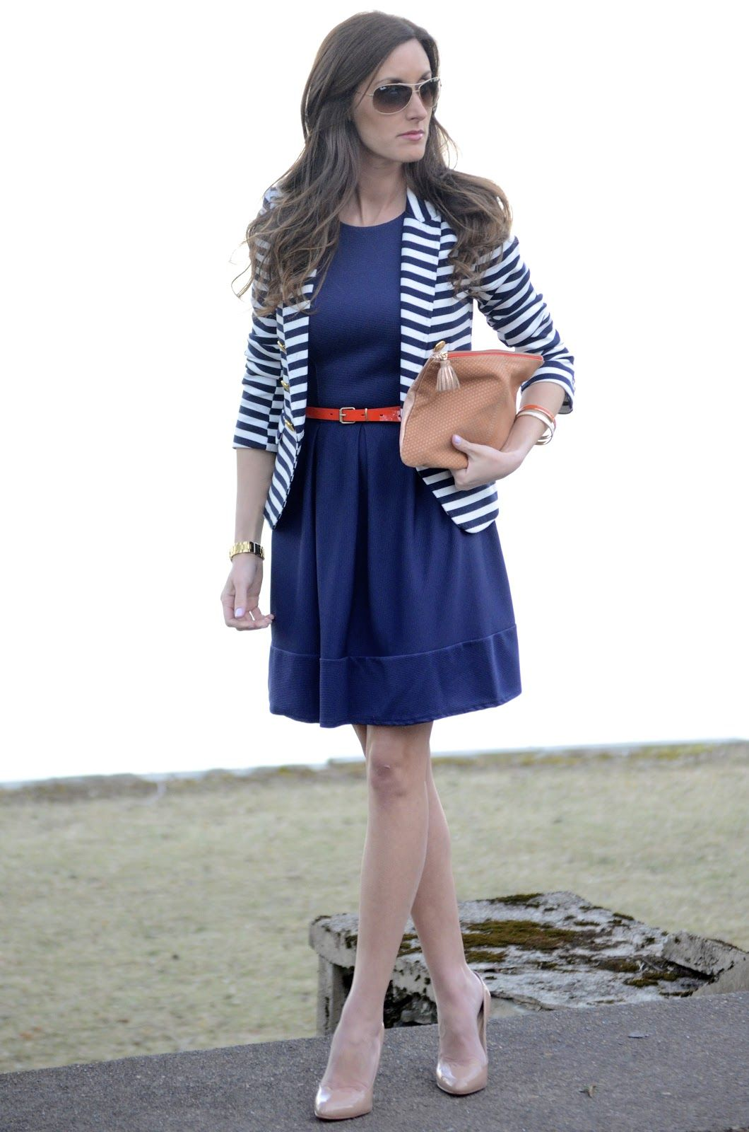 bddc87557904f Striped blazer over blue dress with belt. I have a black and white jacket  to wear over a black dress with a colored belt.