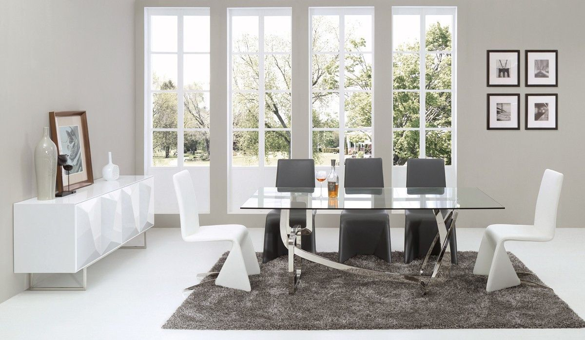 Adelaide Modern Stainless Steel Glass Dining Table Dining