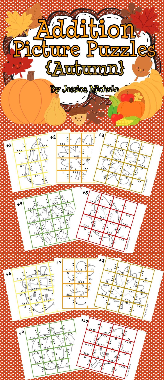 Addition Picture Puzzles Autumn