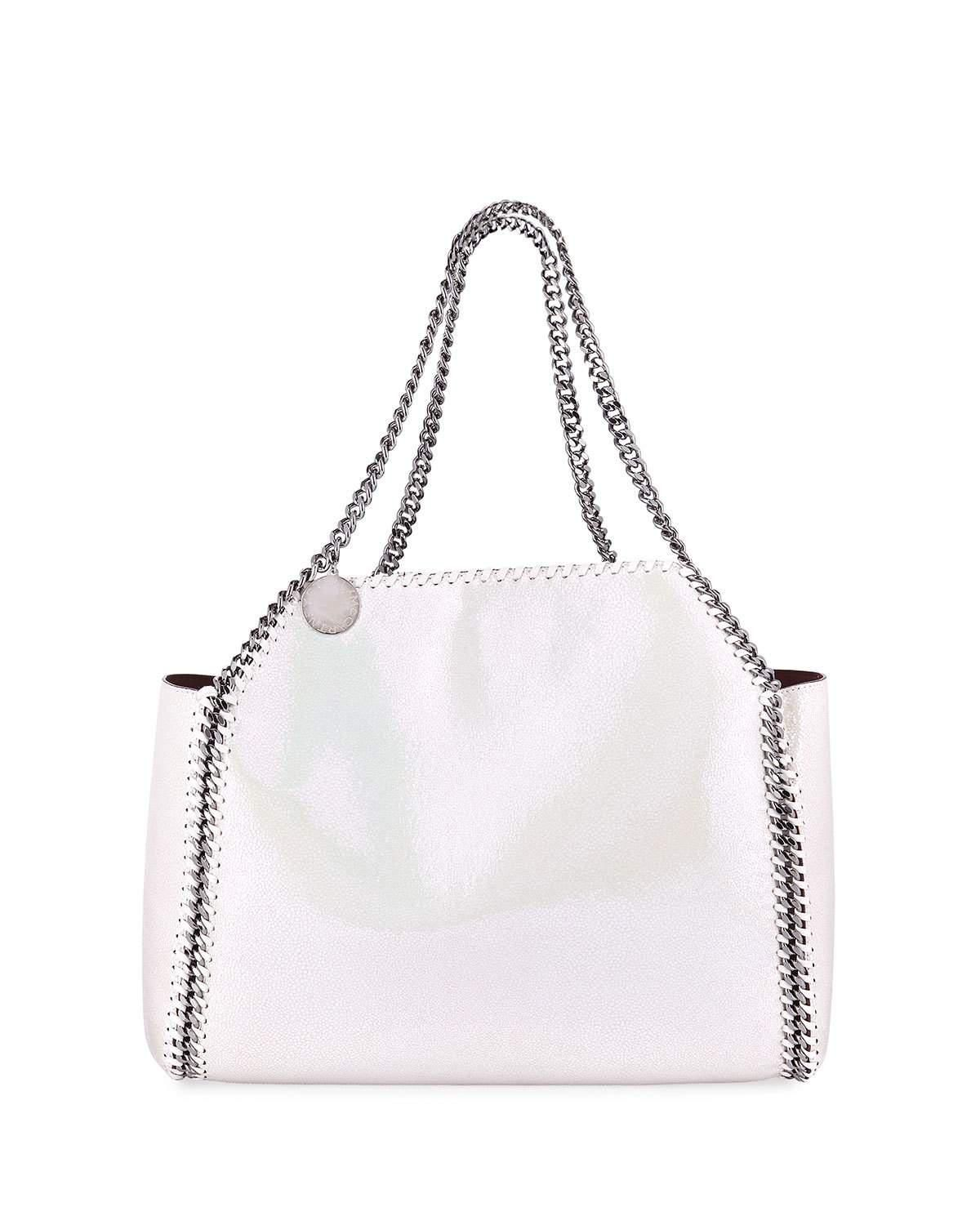 03f16ff657ba Lyst - Stella Mccartney Shaggy Deer Falabella Medium Iridescent Reversible Tote  Bag in White