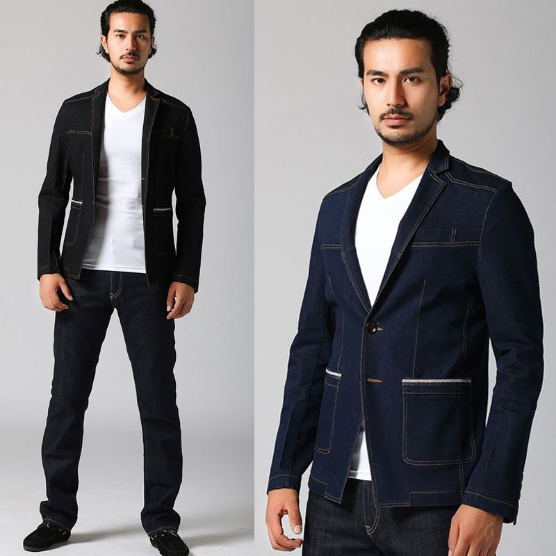2013 Autumn New Men's Slim Fit Blue Denim Jacket , Casual Suit ...