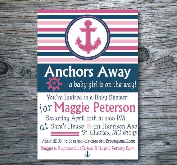 Nautical Baby Shower Invitation, Anchor Baby Shower Invite, Pink - baby shower invitations download