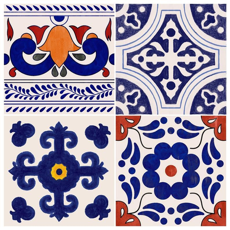Mexican Indigo Mix Wallpaper Removable Vinyl Wallpaper Peel Etsy Vinyl Wallpaper Sophisticated Tile Removable Wallpaper
