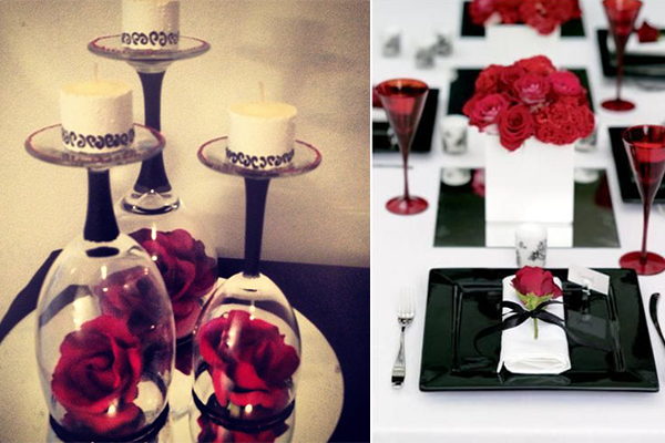 Wedding decoration ideas red white and black table centerpieces wedding decoration ideas red white and black table centerpieces everafterguide junglespirit Images