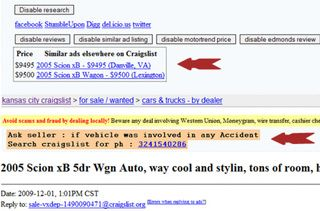 Craigslist Car Research Extension Makes Used Car Shopping Easier