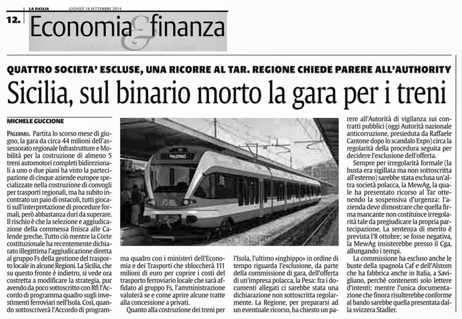 Sicilia Si Blocca L Iter Di Aggiudicazione Della Gara Per L Acquisto Di 5 Treni Sicilia Treno Trasporto Pubblico